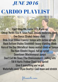 June 2016 cardio playlist + Musical cardio workout (The Fitnessista)