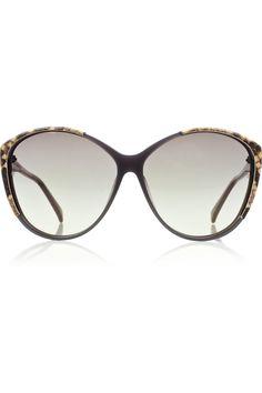 30a774f72a Linda Farrow - Python-trimmed round-frame acetate sunglasses