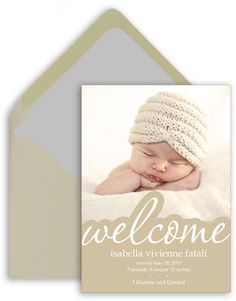 Welcome Photo Birth Announcements
