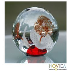 Handblown Murano Glass '1000 Red Flowers' Paperweight (Brazil) - Overstock™ Shopping - Great Deals on Novica Accent Pieces