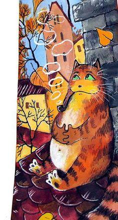 Autumn cat painting. Mariya Chuhlebova
