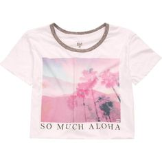 Billabong Women's So Much Aloha Crop Tee ($25) ❤ liked on Polyvore featuring tops, t-shirts, shirts, crop tops, t-shirt/prints, white, white short sleeve shirt, graphic tees, white crew neck t shirt and cut off t shirt