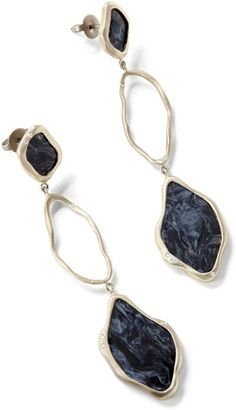 ECD500W - Pietersite earrings with white diamond - Earrings - Collections