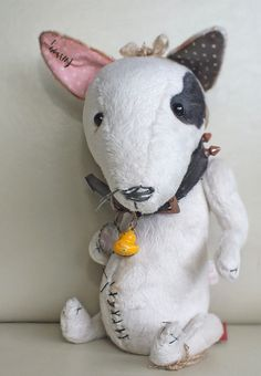 Beverley - bull terrier with aged studded collar, vintage pendant and duckie bell, by Ragtail n Tickle
