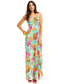 """Some of you have to get in on this: Trina Turk """"Tokyo Bay"""" Aqua Print Halter Maxi Cover-Up Dress"""