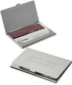 Business Card Holder Brush Silver.   Precision rotary engravement into the metal which is everlasting & great keepsake. Free Engraving includes 4 lines of text, 30 characters per line.
