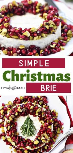 An easy Brie recipe perfect as a holiday party appetizer! This Christmas recipe features Brie, pomegranate, and pistachios, garnished with a festive rosemary Christmas tree. Save this effortless and gorgeous Christmas menu addition for later! Christmas Potluck, Christmas Breakfast, Holiday Dinner, Christmas Holiday, Christmas Snacks, Christmas Kitchen, Holiday Time, Christmas Stuff, Holiday Party Appetizers