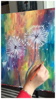 Abstract Painting Easy, Dandelion Painting, Abstract Painting Techniques, Acrylic Painting Flowers, Acrylic Painting Canvas, Abstract Paintings, Original Paintings, Dandelion Flower, Colorful Paintings