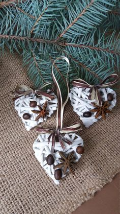 Set of 5 hearts, Christmas ornaments, Christmas decoration, Hearts ornament, Natural decor, Rustic ornaments from a rod, Rustic decor