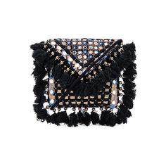 SHASHI Carmen Clutch (2.271.180 VND) ❤ liked on Polyvore featuring bags, handbags, clutches, hand bags, tassel purse, shoulder strap purses, beaded handbags and fringe purse