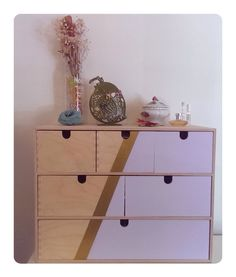 IKEA Moppe Chest of drawers in gold and pastel purple. So fresh, so hipster.