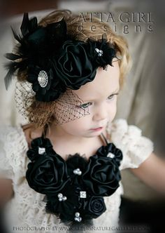 A  SOPHISTICATED CHRISTMAS  Headband, Lace Dress and Bib Necklace Newborn Baby Toddler Girls ADULT Gorgeous Elegant Hair Flair. $108.00, via Etsy.