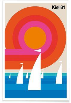 Juniqe® Posters Cities Retro - Design Kiel (Format: Portrait) - Pictures, Art prints & Prints by independent artists Designed by Bo Lundberg Retro Graphic Design, Graphic Design Posters, Graphic Design Inspiration, 1980s Design, Geometric Poster, Geometric Art, Hamburg Poster, Chicago Poster, Chicago Cubs Logo