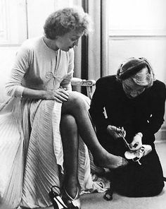 Edith Piaf and Marlene Dietrich on Piaf's wedding day