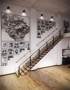 A breath of art for the house with a decorative painting Stair Art, Stair Decor, Modern Garage Doors, Loft Stil, Concrete Stairs, Painted Stairs, Interior Stairs, House Stairs, Living Room Modern