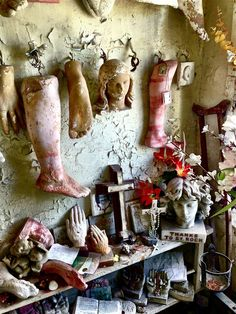 Inside the St. Rochs Cemetery Church in New Orleans, these are effigies of afflicted body parts that people would pray on for healing in the 17-1800's.