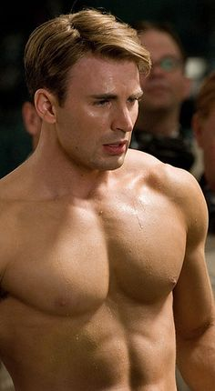 Chris Evans Shirtless After Captain American Workout