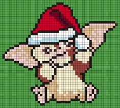 Gizmo In A Santa Hat (from Gremlins) (sq) Perler Bead Pattern / Bead Sprite Pony Bead Patterns, Kandi Patterns, Perler Patterns, Beading Patterns, Cross Stitch Patterns, Bracelet Patterns, Gremlins, Pixel Art, Christmas Perler Beads