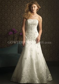 A-Line Strapless Floor Length Sweep Wedding Dress.