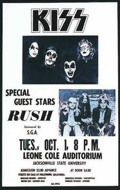 Kiss and Rush Concert Poster. Rock Posters, Band Posters, Concert Posters, Music Posters, Event Posters, Rock & Pop, Rock N Roll, Rush Concert, Rush Band