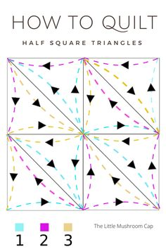 Free Motion Quilting Sampler Blocks How to quilt half square triangles