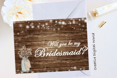 Will You Be My Bridesmaid Card Rustic String Lights Bridal Shower Wedding Printable Baby's Breath,Wood,Country Mason Jar Digital File