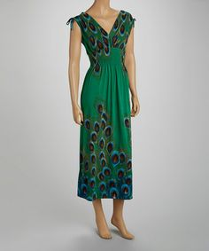 Love this Green Smocked Peacock Maxi Dress - Women by jon & anna on #zulily! #zulilyfinds