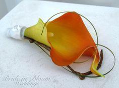 Wedding boutonniere Orange calla lily by BrideinBloomWeddings, $10.00