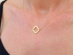 Clover Necklace, Lucky Clover Necklace, Delicate Gold Quatrefoil - Lucky Jewelry
