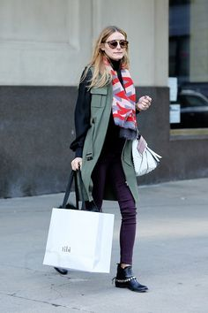 Olivia Palermo wearing  Westward Leaning Flower 13 Sunglasses, Iris v Arnim Scarf Bauhaus, Freda Salvatore Star Booties, Nordstrom Chelsea28   Olivia Palermo Vest, Tod's Small Wave Tote