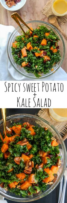 Spicy Roasted Sweet Potato + Kale Salad with a maple tahini dressing and topped with dried cranberries