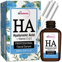 StBotanica Hyaluronic Acid Facial Serum + Vitamin C, E – Under Eye Dark Circles, AntiAging / Wrinkle Serum. For all skin types including, those with sensitive skin. Formula is vegan, paraben-free, silicon free.