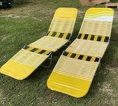 @#! Vintage Yellow Folding Lounge Lawn Chairs Plastic Vinyl... Lawn Chairs, Outdoor Chairs, Outdoor Furniture, Outdoor Decor, Vintage Yellow, Floor Chair, Sun Lounger, Plastic, Flooring