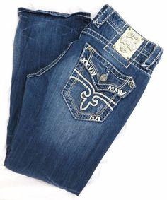Rock Revival Jeans Dustin 34W 32L Boot Cut Distressed Blue Fleur De Lis Frayed #RockRevival #BootCut