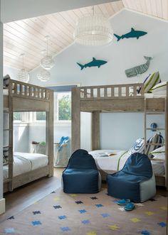 blue beach house bunk room