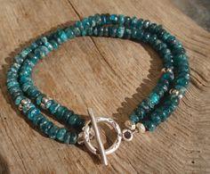 Apatite and fine silver double bracelet by kudzupatch on Etsy