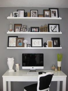 Home Office Shelves Above Desk 31 Trendy Ideas Shelves Above Desk, Home Office Shelves, Floating Shelves, Shelf Desk, White Shelves, Desk Office, Open Shelves, Kitchen Shelves, My New Room