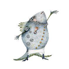 Fish Illustration singing fish Giclee Print 8x11