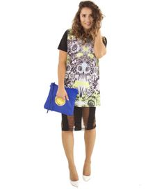 """This tunic is so versatile; wear as a dress, as a loose top, or even knot and wear as a crop! The bright, detailed print rocks, and with a psychedelic vibe, is great for pairing with an equally funky skirt and accessories.  Fabric has a slight sheen and stretch, for comfortable wearing.    By Moon  96% Polyester, 4% Spandex  Hand Wash  Imported    Model Info: Height: 5'6"""" 