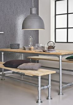 I'm really a vintage girl, yet I love the simplicity and clean lines of this industrial table and bench