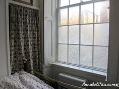 She Transforms Her Bedroom By Brushing Cornstarch On Windows And Putting 'Privacy' Lace On Top