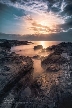 Jogashima Sunset by TakuCavalera  sky sea sunset water blue sun clouds ocean long exposure Jogashima Sunset TakuCavalera