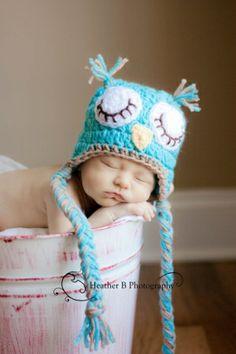 Photographers Prop Hand Crocheted Sleepy Owl Ear Flap hat for Newborn baby Boy by Zoie
