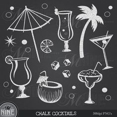 CHALK COCKTAIL Clip Art: Chalk Party Clipart, Chalk Download, Chalkboard Luau Martini Chalk Margarita Food Drinks