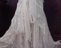 20%OFF wedding, bridal,tattered skirt, formal,  boho, fantasy, stevie nicks, bohemian skirt, gypsy skirt, ivory, bellydance, small, medium
