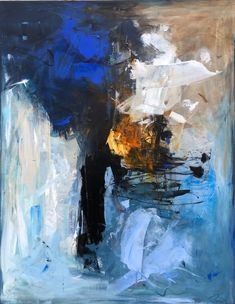 Abstract Expressionism, Abstract Art, Cool Paintings, Acrylic Paintings, Blue Painting, Minimalist Art, Art Techniques, Lovers Art, Art Inspo