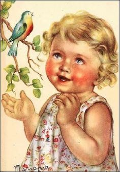 Sweet vintage illustration with bluebird