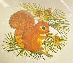 Vintage Unique CREWEL Embroidery Fall Squirrel Woodland Creature