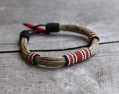 Seme di perle bracciale, gioielli organici, braccialetto di sport per lei, gioielli africani, braccialetto tribale, canapa gioielli, gioielli di stringa, dono naturale