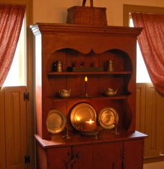 Primitive country Furniture-Primitive painted furniture--I have a similar hutch. I like how this was decorated. Primitive Painted Furniture, Primitive Cabinets, Colonial Furniture, Country Furniture, Furniture Decor, Vintage Furniture, Prim Decor, Country Decor, Primitive Decor